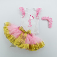 3PCs per set Baby Girls Tutu Skirt Pink Golden Baby Birthday Outfit Angel Wing Romper Crown Headband Infant Girl Clothes