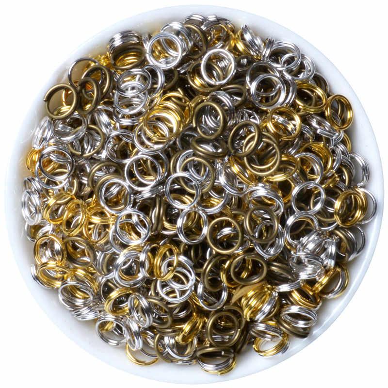 200 ชิ้น/ล็อต 4 5 6 8 10 12 มิลลิเมตรแหวนคู่ลูปทองเงินบรอนซ์สีแยกแหวนตัวเชื่อมต่อสำหรับเครื่องประดับ DIY