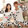 GOPLUS Hot New 2016 Milk Silk Couple Pajamas Long Sleeve Round Neck Letters Pijama Size M-XXL Casual Pyjamas Women Man Homewear
