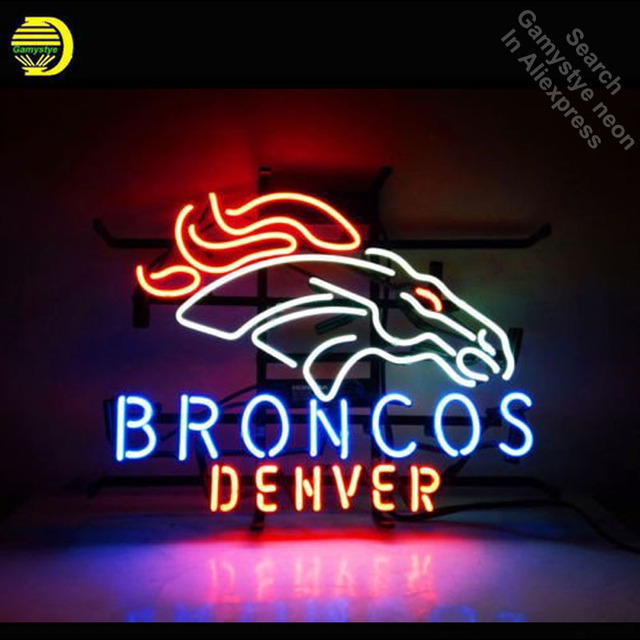 Broncos DENVE neon Signs Unique Artwork Real Glass Tube HORSE neon lights Recreation Home Wall Iconic Sign Neon Light Art Lamps