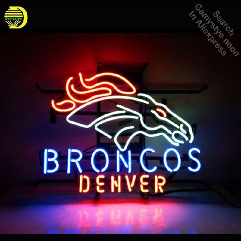 Broncos DENVE néon signes Unique œuvre Tube de verre réel cheval néon lumières loisirs maison mur emblématique signe néon lumière Art lampes