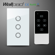 цена на Wallpad LED light Crystal Glass US 3 Gangs White Wireless Remote control light switch,Touch Wifi Wall Light Switch,Free Shipping