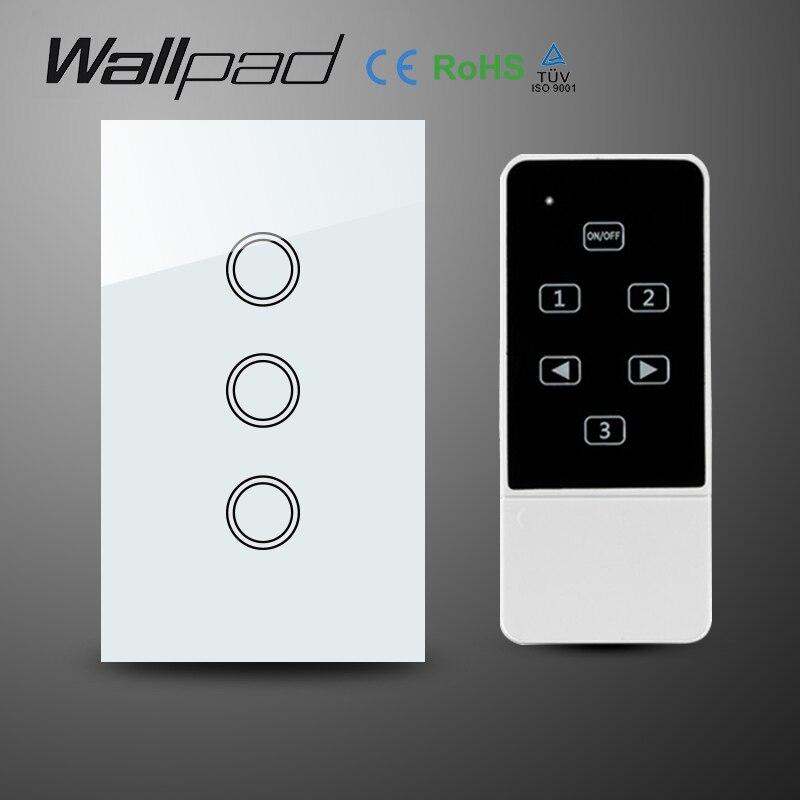 Wallpad lumière LED verre cristal US 3 Gangs blanc sans fil télécommande interrupteur, tactile Wifi interrupteur d'éclairage mural, livraison gratuite