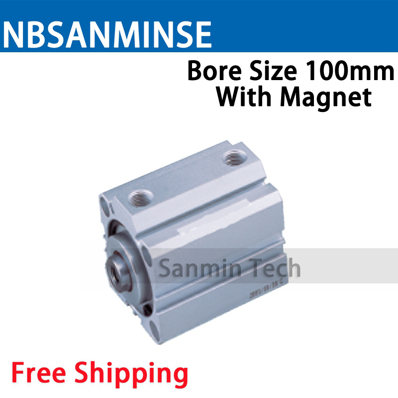 SDA Series With Magnet 100mm Bore Size Compact Cylinder AirTAC Type Double Acting Cylinder Pneumatic Parts NBSANMINSE bore size 32mm 5mm stroke sda pneumatic cylinder double action with magnet sda 32 10