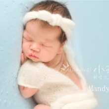 SexeMara Mohair Romper photo with headband Newborn Pant