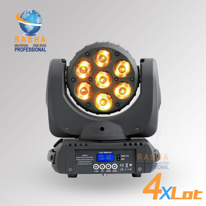 4X Lot Rasha Big Sale 7pcs*12W RGBW 4in1 Cree LED Moving Head Beam With LCD Display Stage Moving Head Beam With 4in1 Road Case