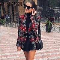 Affogatoo Tassel wool elegant tweed red blazer woman 2018 Turndown collar casual plaid blazer Fashion blaser winter coat female