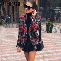 Affogatoo Tassel wool elegant tweed red blazer woman 2018 Turndown collar casual plaid blazer Fashion blaser winter coat female