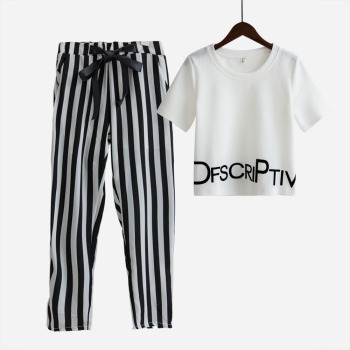 White Letter Printed T Shirt Sexy Cropped Tops +Striped Pants Calf Length Casual Tracksuit