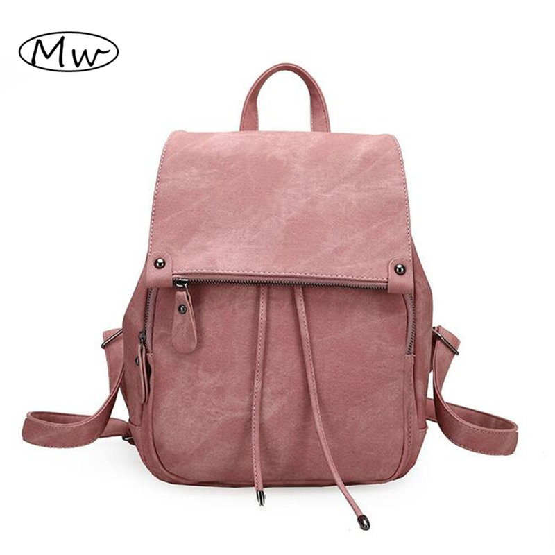 Women Pu leather backpack 2016 autumn new ladies drawstring bucket backpack school bags for teenager girls