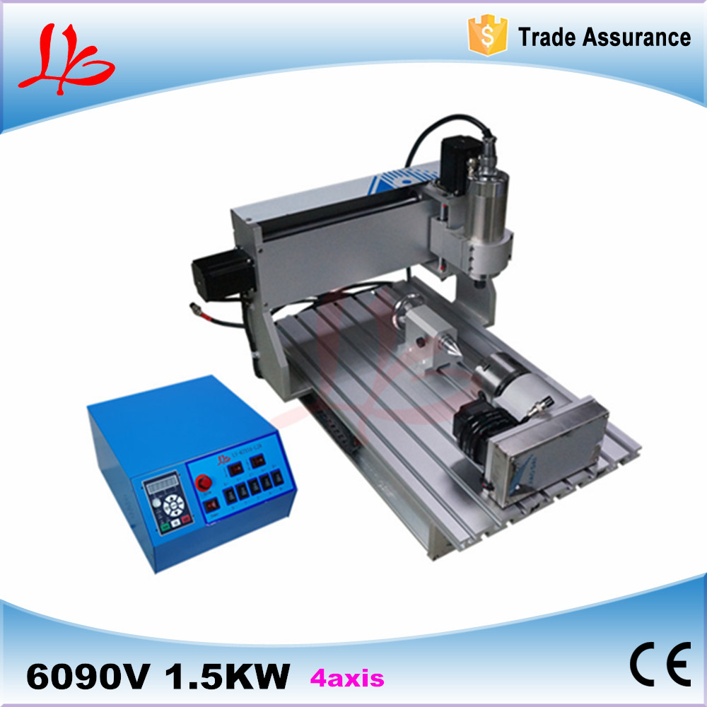 Russia tax free cnc milling machine CNC 6090 4 axis 1.5kw spindle Engraving Machine Carving Router for aluminum 4 axis cnc router 3040z s 800w cnc spindle cnc milling machine with dsp0501 controller free ship to russia no tax