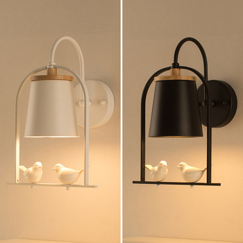 Nordic bedroom wall lamps black by bed modern minimalist creative led living room children's room aisle lamps LM5141130py
