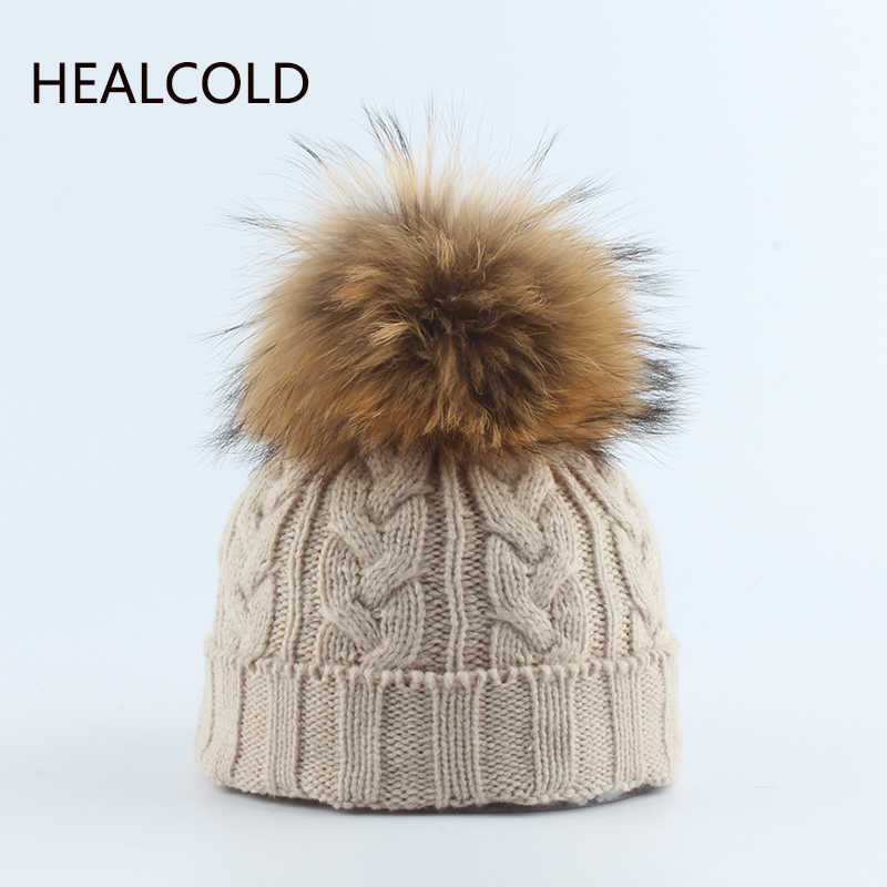 2019 Winter Knitied Beanies For kids Real Fur Pompom Hats Boy And Girls Casual Warm Caps