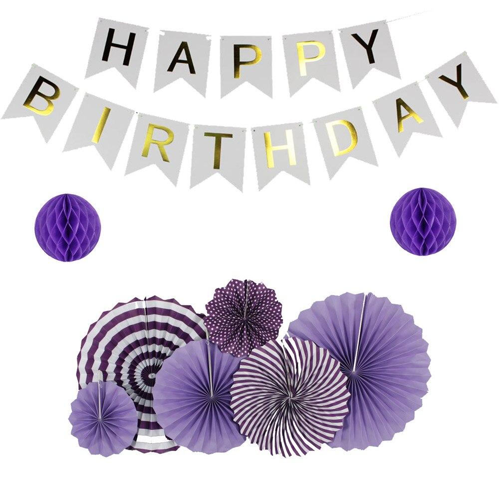 9pcs/Set DIY Purple Series Kids Birthday Party Decoration Paper Fan Banner Honeycomb Baby Shower Hanging Decor Paper Crafts