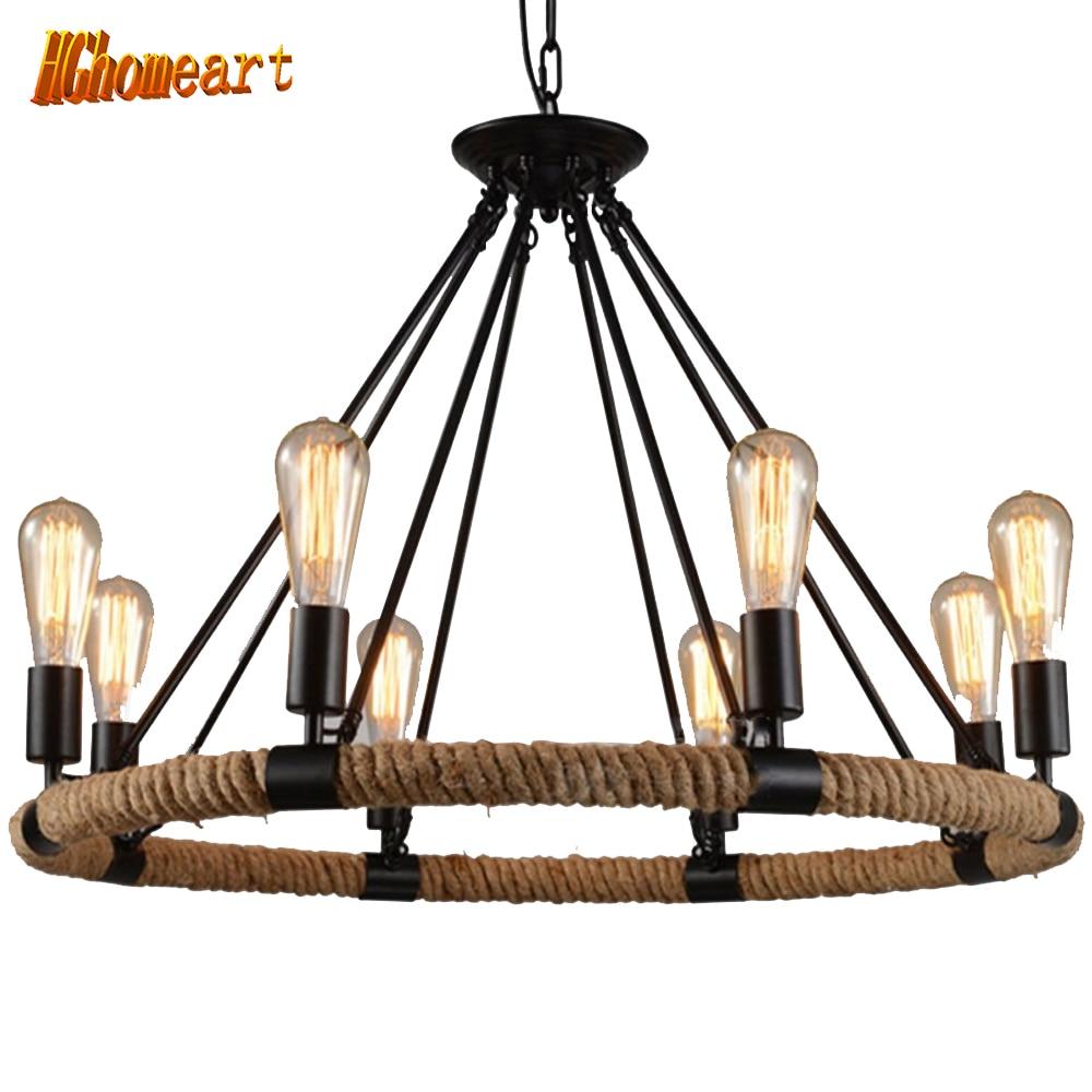 Hghomeart Indoor Lighting Vintage Chandelier Rope Lamp Vintage Loft Lamp 110V 220V E27 Led Lamp Loft Lamps Light Fixtures