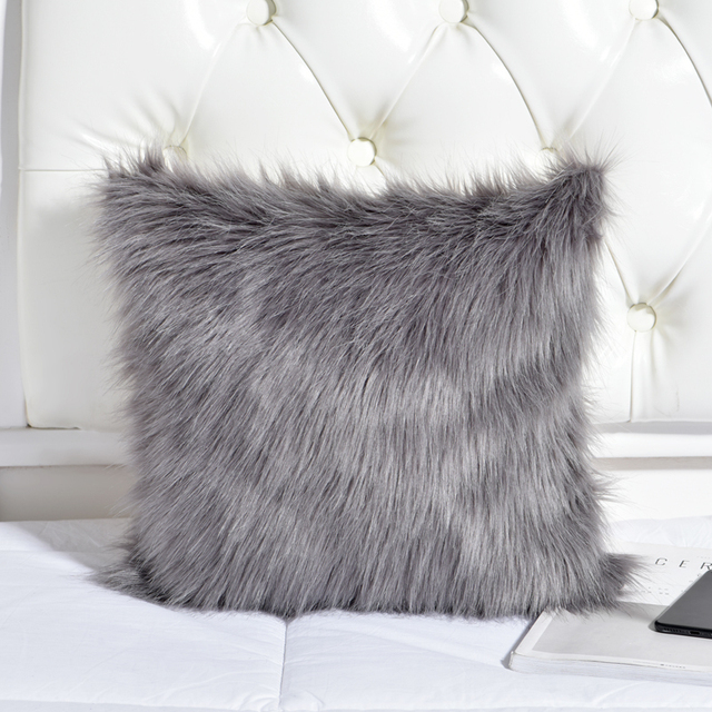 Decorative Pillow Case Grey Fuzzy Faux Fur Throw Pillows