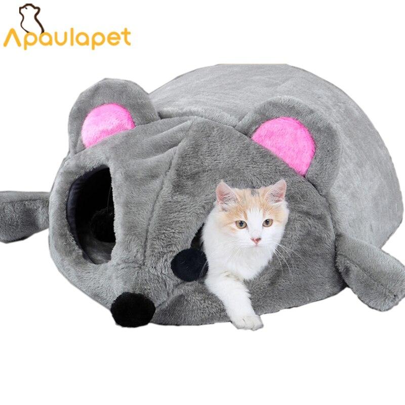 Grau Maus Form Bett Für Kleine Katzen Hunde Höhle Bett Abnehmbare Kissen, Wasserdichte Untere Katze Haus Maus Für Katzen
