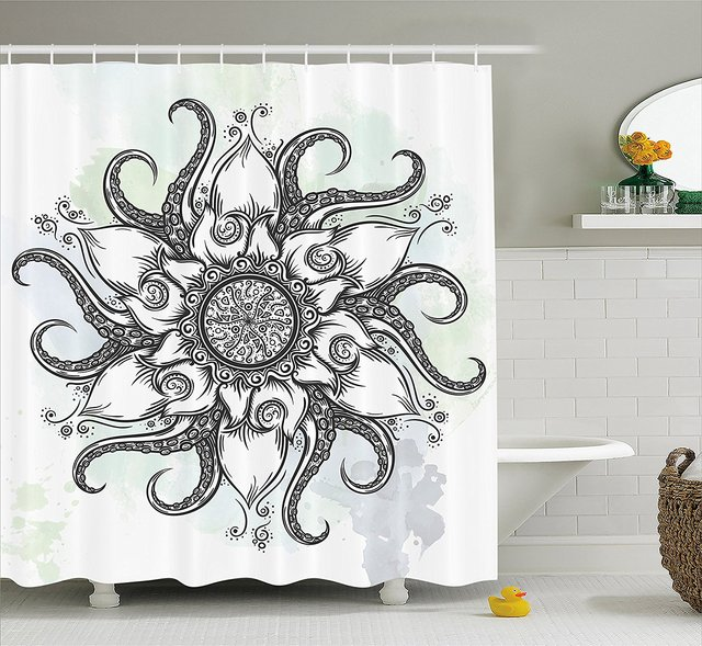 Octopus Decor Shower Curtain Trippy Nautical Mandala Made Abstract