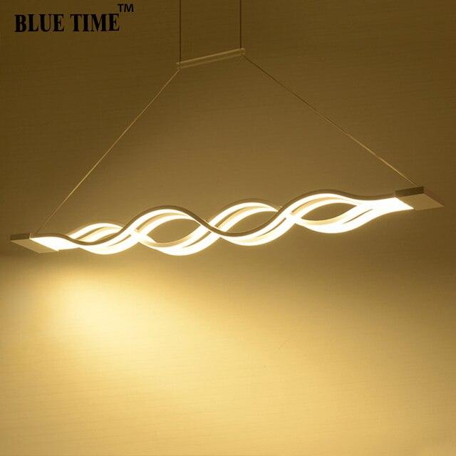 120CM biały czarny nowoczesne lampy wiszące do jadalni pokój dzienny kuchnia ściemnialna lampa wisząca led lamparas kształt fali