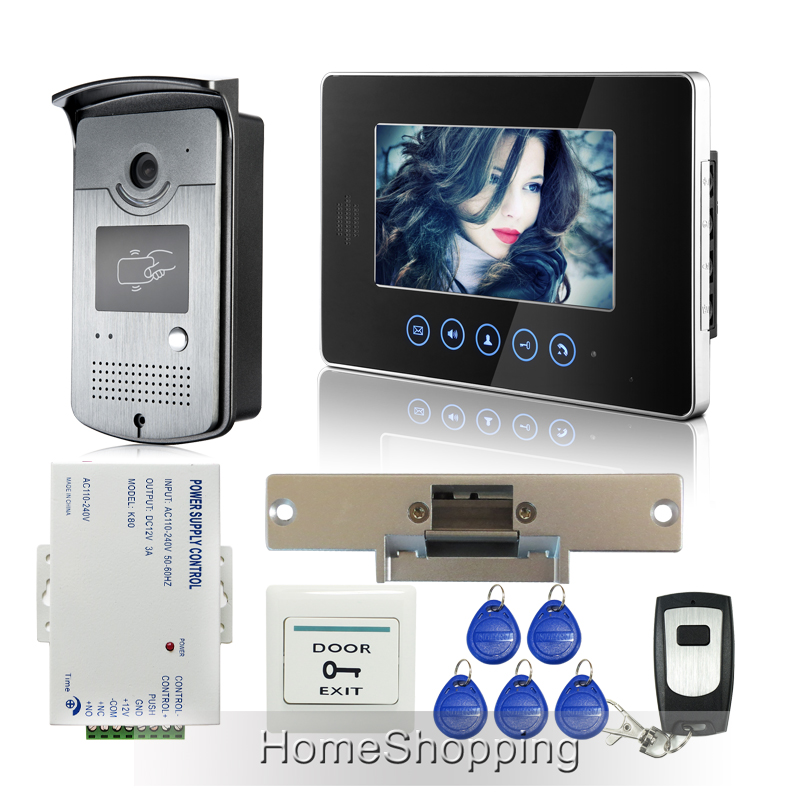 FREE SHIPPING Touch Monitor 7 Screen Video Intercom Door Phone Doorbell System RFID Door Camera + Strike lock + Remote IN STOCK free shipping 7 video intercom door phone system 3 white monitor 1 doorbell camera for 3 household rfid access strike lock