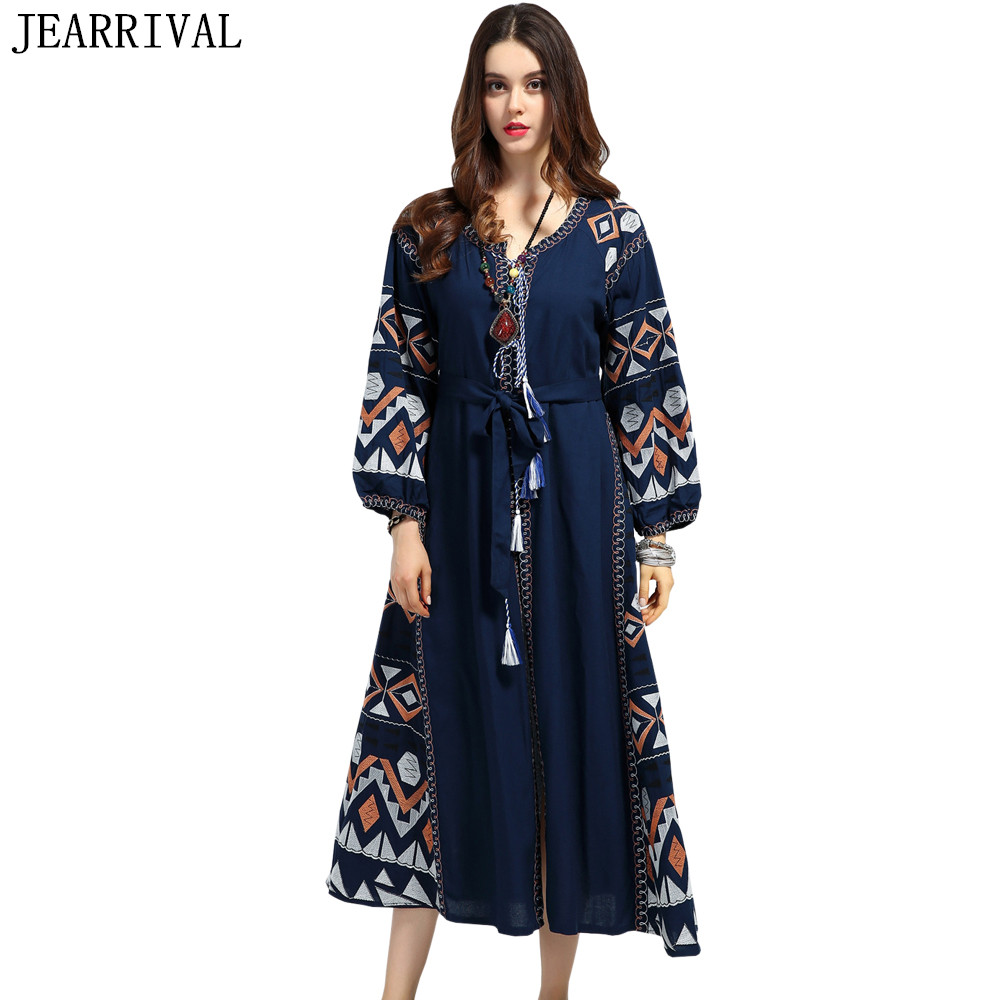 Buy Cheap 2017 Casual Long Maxi Dress Women Runway Style Vintage Bohemian Embroidery Lace Up Lantern Sleeve Summer Dresses Vestidos Mujer