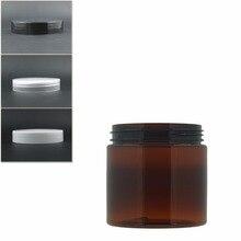 10 шт./лот 200 мл янтарная круглая Кувшин Бутылка для домашних животных контейнер с прозрачными/белыми пластиковыми крышками для косметики, еды, лекарств, упаковки