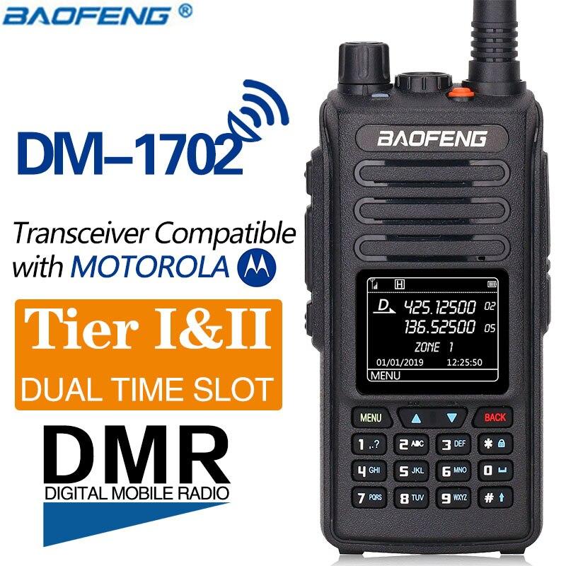 2019 Baofeng DMR DM-1702 (GPS) Walkie Talkie VHF UHF Dual Band Dual Time Slot Tier 1&2 Digital/Analog Ham CB Radio HF Receiver