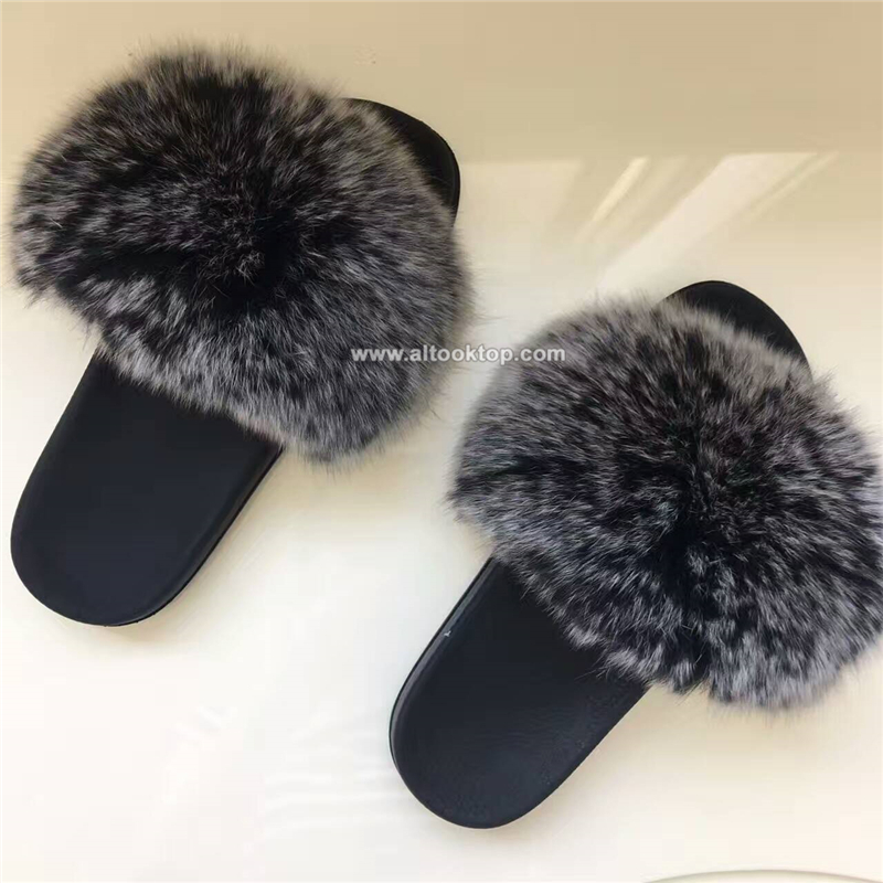 Women fur slippers luxury real fox fur beach sandal shoes fluffy furry flip flops slippe ...