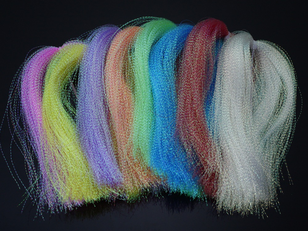 """Dyed-Pearl Flashabou Accent Fly Tying Materials, dostupné v 8 barvách, 1/69 """"Wide By 12"""" Long."""