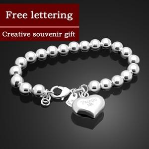 Image 1 - Fashion 100% 925 sterling silver Heart Bracelet Women solid silver Hand catenary Girl simple ball bracelet Charm Fine Jewelry