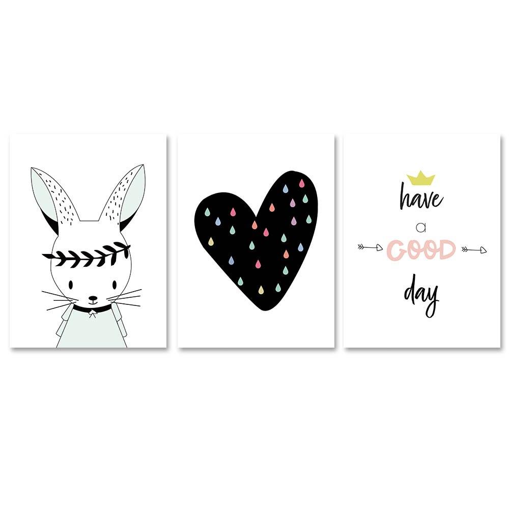 Bunny Heart Canvas Poster Cartoon Nursery Wall Art Print Baby Bedroom Decation