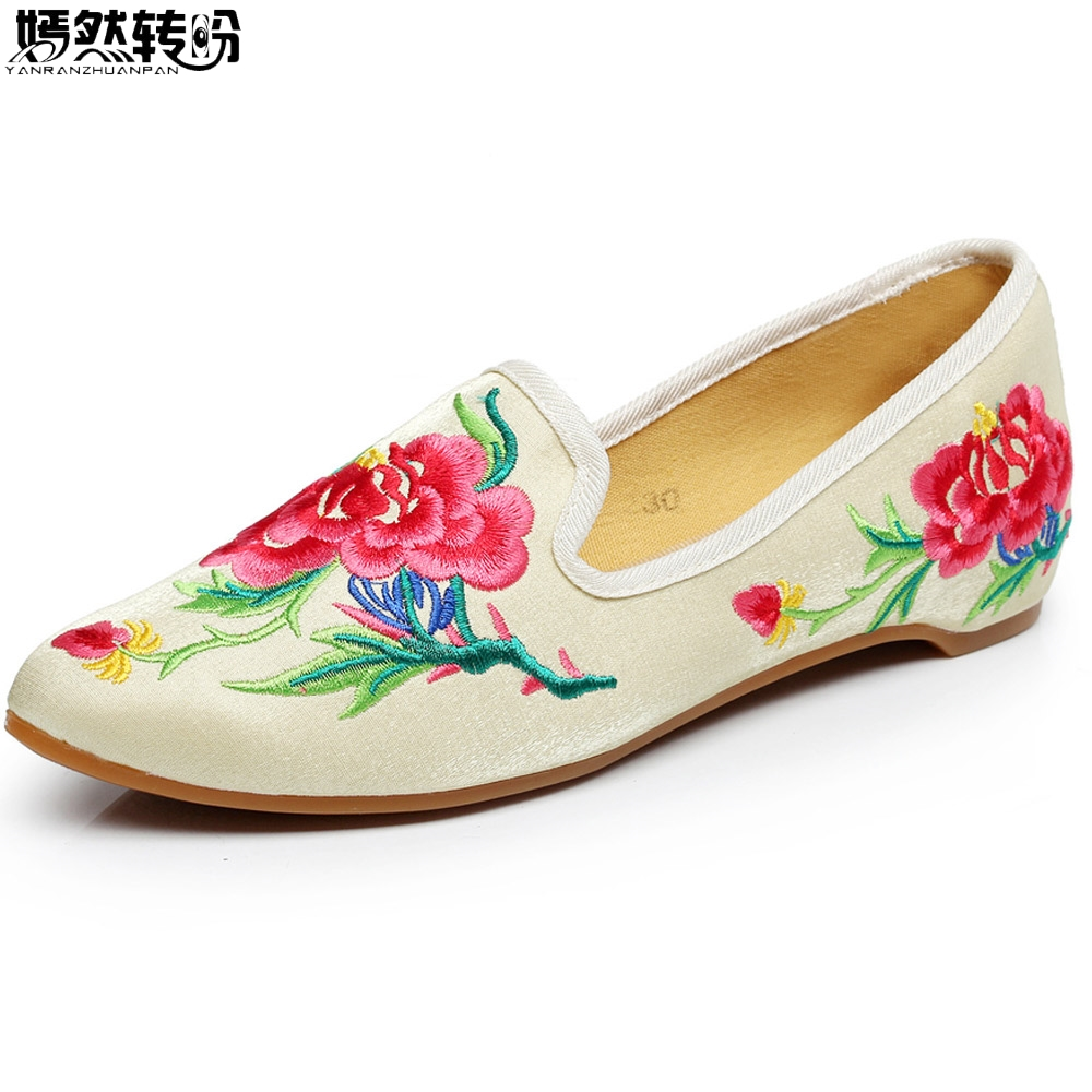 New Arrive Women Flats Shoes Vintage Flower Embroidery Pointed Toe Comfort Slip-on Soft Ballet Shoes Woman Zapatos De Mujer chinese women flats shoes flowers casual embroidery soft sole cloth dance ballet flat shoes woman breathable zapatos mujer