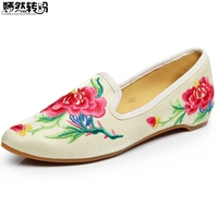 New Arrive Women Flats Shoes Vintage Flower Embroidery Pointed Toe Comfort Slip On Soft Ballet Shoes