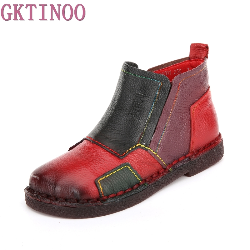 Women Ankle Boots Retro Handmade Woman Boots Genuine Leather Shoes Fashion Mixed Colors Zip Boots Soft Comfort Casual Shoes handmade soft bottom fashion tassels baby moccasin newborn babies shoes 18 colors pu leather prewalkers boots