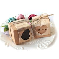 2017 New 50pcs Romantic Heart Candy Box For Wedding Decoration Vintage Kraft Wedding Favors And Gifts