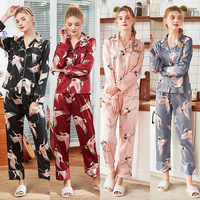 New Style Spring and Summer Lady Long sleeved Home Clothing Ice Silk Satin Suit Set Sleepwear Large Size Leisure Nightgown J045