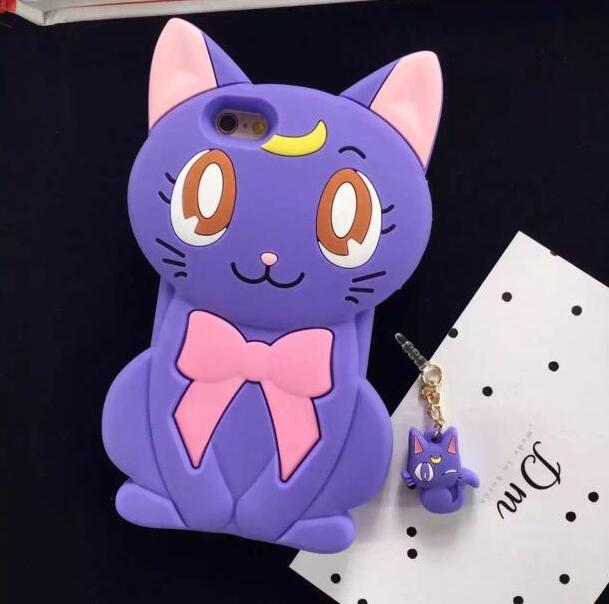 SBK Three dimensional Butterfly Knot Luna Cat Apple 6plus Mobile Shell Silicone Cartoon Beauty Soldier Applicable