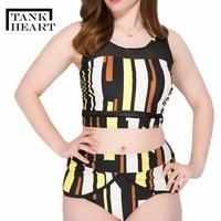 Tank Heart Two Piece Suits Plus Size Swimwear Women high waist bikini Set Large Size Swimsuit Female Bathing Suits Tankini 5XL