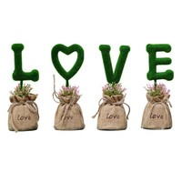 DIY LOVE Simulation Green Plant Ornaments Wedding Decorations Fake Flowers Valentine's Day Gift Living Room Furniture Decoration