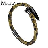 Mcllroy Leather bracelet Snakeskin rope 316L Titanium steel Nail material Handmade Cuff Bangle For Men valentine Gift Bileklik
