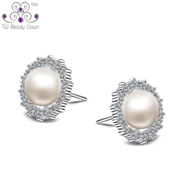 Real 925 Pure Silver Micro Paving Clear Zirconia Luxury Natural Freshwater Pearl Round Stud Earrings For Women Female Jewelry
