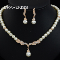 BRAVEKISS wedding pearl jewelry sets for brides women beaded necklace earrings jewelry set crystal lady bijoux BJS0036A