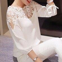 Blouse shirt hot Sell Lace Hollow Collar Chiffon Fashion Women Backless Three Qu