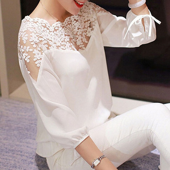 Female Blouse shirt Lace Hollow Collar Chiffon Women Backless Three Quarter Sleeve Ladies  Cosy Tops Shirts Organza Blouse lace panel blouse
