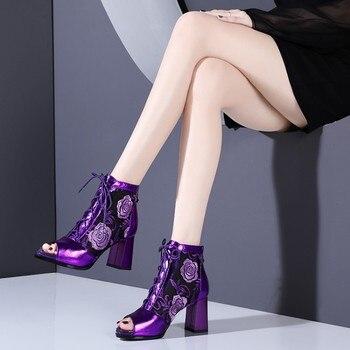 2019 New fashion women open Toe high heels sandals mesh boots summer woman ankle boots womens dress Wedding banquet shoes