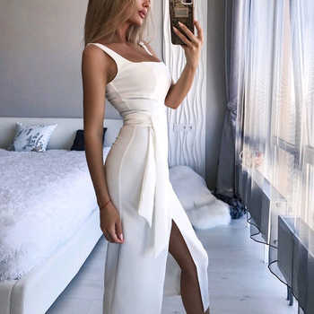 DeRuiLaDy 2019 Summer Straps Party Dress For Women Sexy Sleeveless Bodycon Midi Dresses Womens Casual Off Shoulder Club Dress - DISCOUNT ITEM  40 OFF Women\'s Clothing