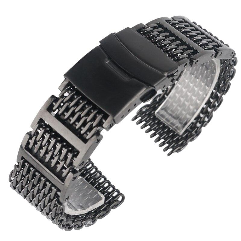 Prix pour 20/22/24mm Cool Exceptionnelle Shark Mesh Bracelet Noir Montre-Bracelet de Courroie De Bande De Luxe Solide Lien Inoxydable acier Remplacement