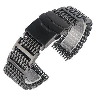 Image 1 - 20/22/24mm fajne wyjątkową siatka rekina Watchband czarny zegarek na rękę pasek pasek luksusowe solidna Link wymiany ze stali nierdzewnej