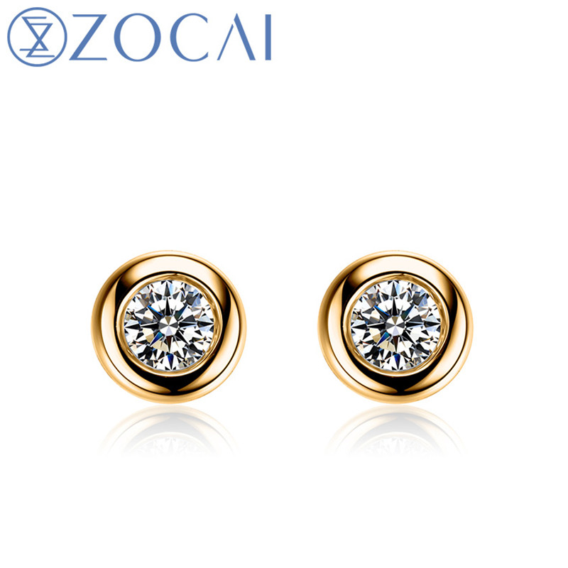 New Arrival ZOCAI 0.22 ct certified real diamond earrings 18K yellow gold diamond earrings 18K rose /white gold JBE00184 цены
