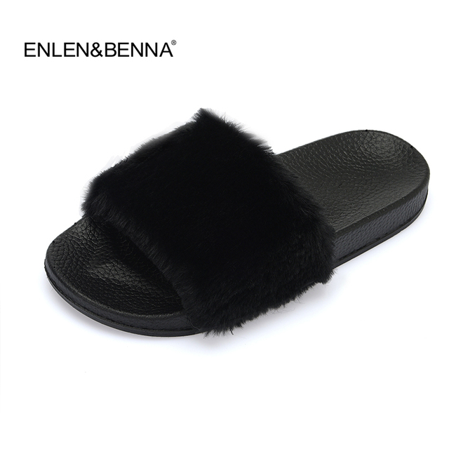 08537403c1739 2017 New Women Long Plush Slippers Fluffy Rabbit Hair Fur Slides Thick  Bottom Sandals Home Flip Flop Female Casual Party Shoes